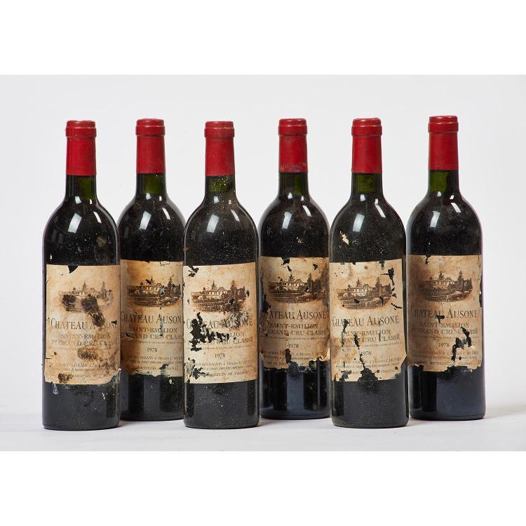 6 bouteilles Château AUSONE, 1° Grand Cru Saint-Emilion 1978 EA, 1 TLB