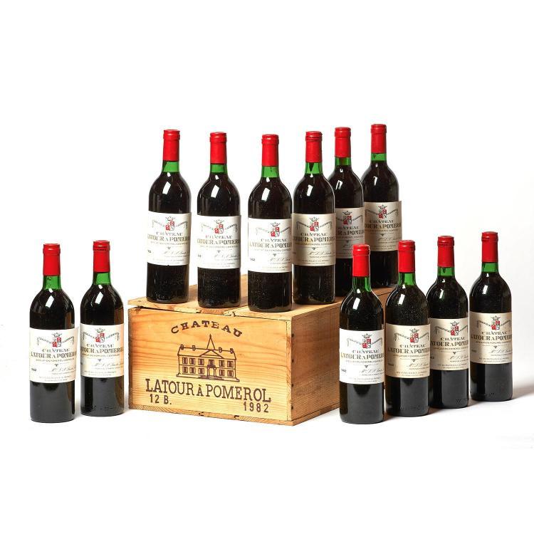 12 bouteilles Château LATOUR A POMEROL, Pomerol 1982 CB, 2 TLB
