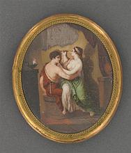 """Miniature """"La leçon de peinture"""" Elle représente une femme dessinant le profil d'un homme sur un mur. Cadre en laiton doré. Travail ..."""