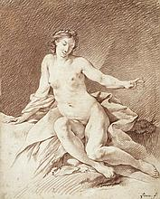 École française du XVIIIe siècle, Entourage de Jean-Baptiste Marie PIERRE (Paris 1713 - 1789) Femme nue sur un drapé Sanguine 43 x 3...