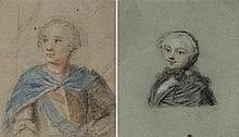 École française vers 1800 Portrait d'homme et portrait de femme Pastel 16 x 13cm; 16,5 x 14cm On y joint une étude de chien
