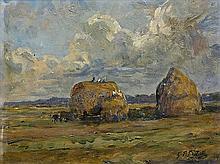 Pierre-Georges DIETERLE (Paris 1844 - 1937) Les meules de foin Panneau 24 x 33,5 cm Signé en bas à droite : G