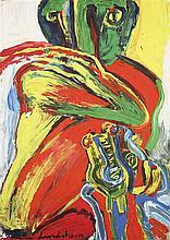 Bengt Lindström (1925-2008) Sans titre Gouache sur papier contrecollé sur isorel Signée en bas vers la gauche 104,5 x 74,5 cm