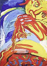 Bengt Lindström (1925-2008) Sans titre Gouache sur papier contrecollé sur isorel Signée en bas au centre 104,5 x 74,5 cm