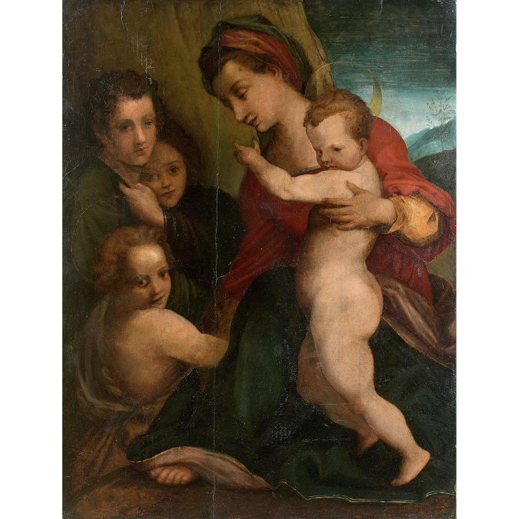 Florentine school circa 1530, A. de Sarto's workshop, Virgin with Child and saint John the Baptist, poplar panel, unframed