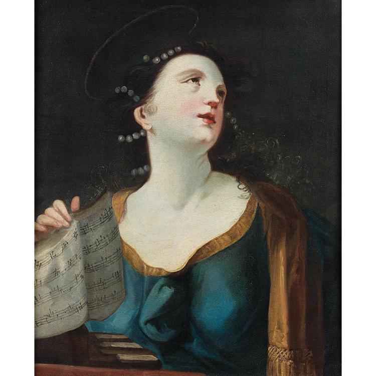 Florentine school circa 1700, circle of P. Dandini, Saint Cecilia, canvas.