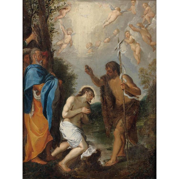 17th century Bolognese school, follower of L. Carrache, the Christ's Baptism, canvas laid on panel