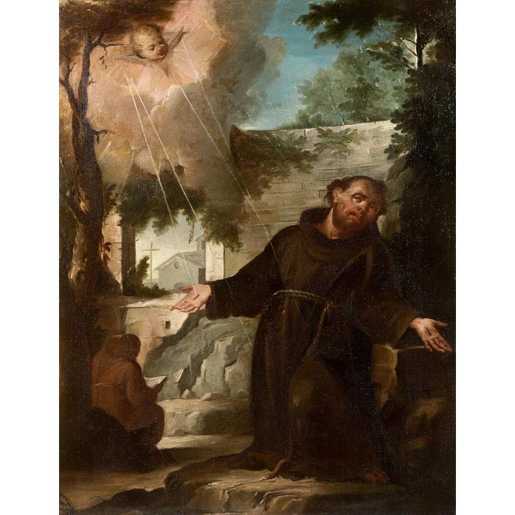 North-Italian school circa 1730, Saint Francis of Assisi receiving stigmata, canvas, unframed