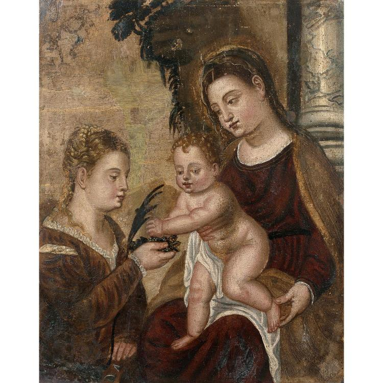17th century Veneto-Dalmate school, follower of Titien, Virgin and Child with saint Catherine