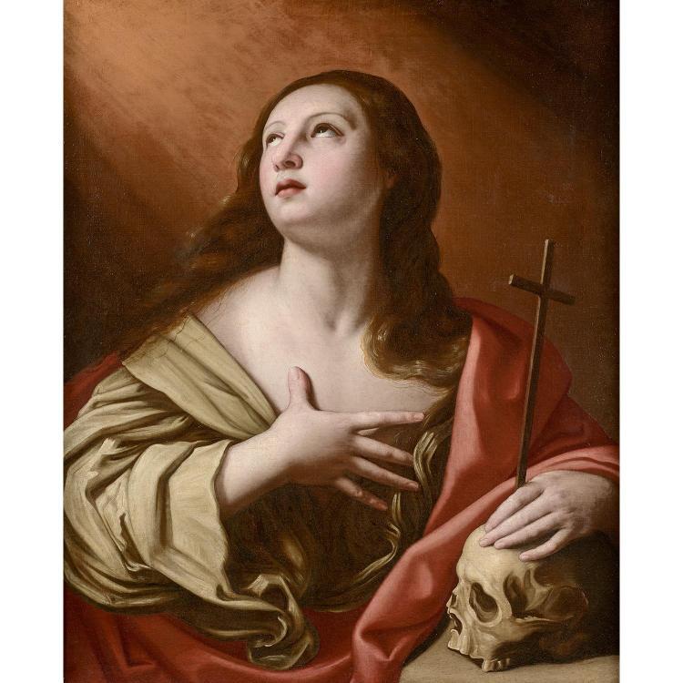 Attr. to E. Sirani, Saint Mary-Magdalena, canvas