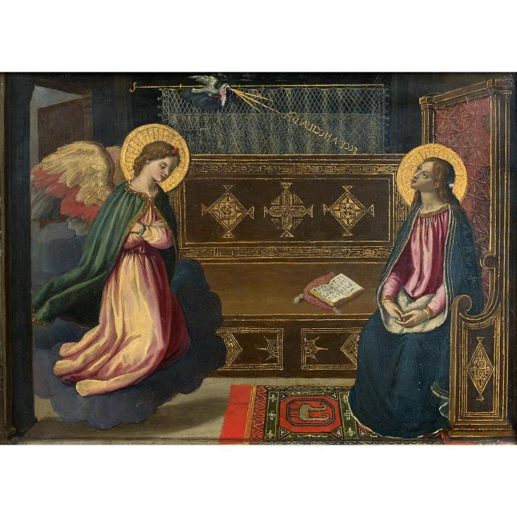 Flemish school circa 1820, follower of Fra Angelico, The Annunciation, copper