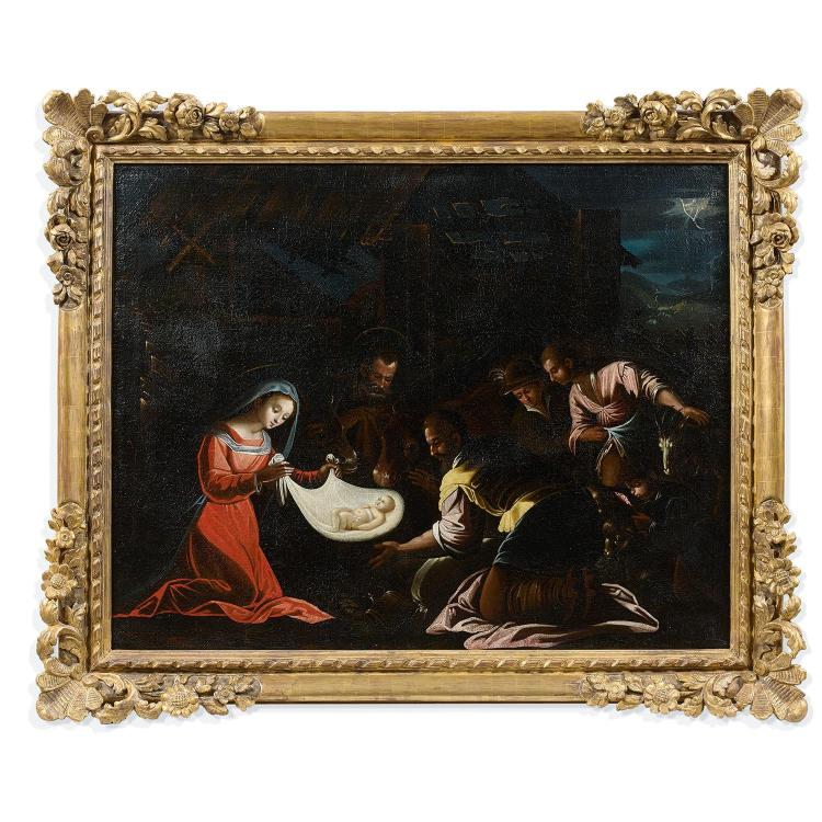 17th century Italian school, follower of the Bassano, the Adoration of the Shepherds, canvas