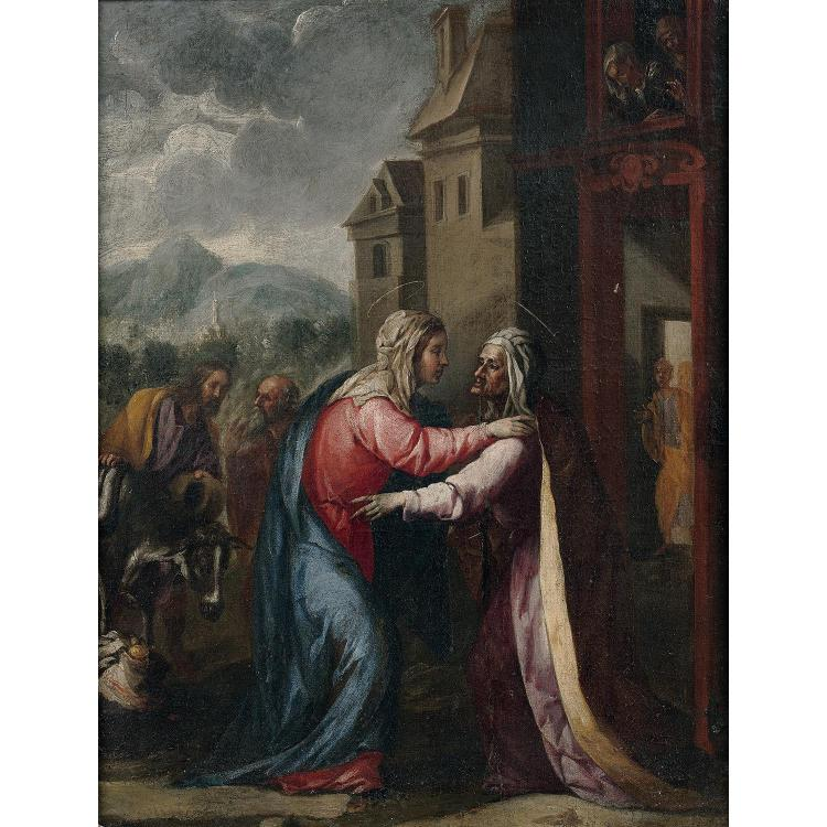 Spanish school circa 1660, Visitation, canvas