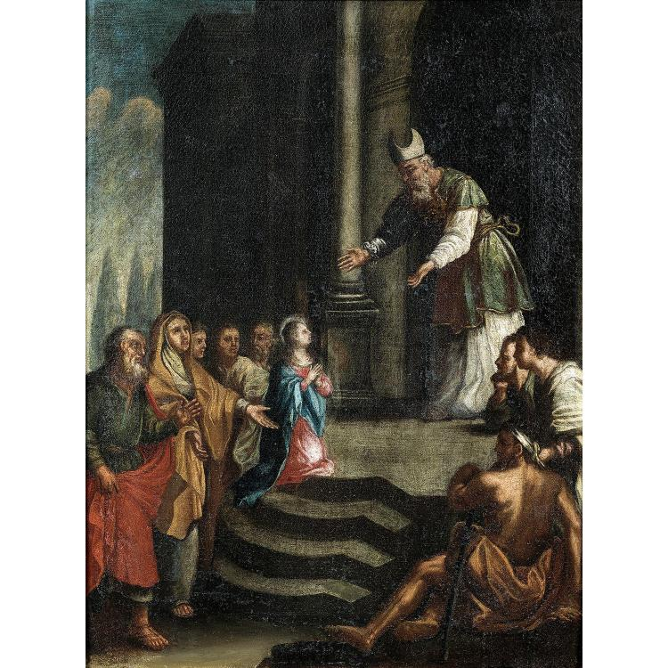 18th century Italian school, Presentation of Mary, original canvas