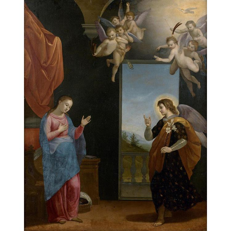 Florentine school circa 1700, follower of J. da Empoli, Annunciation, canvas