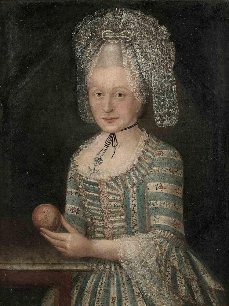 North-Italian school circa 1770, Portrait of a young lady with an apple, on it's original canvas