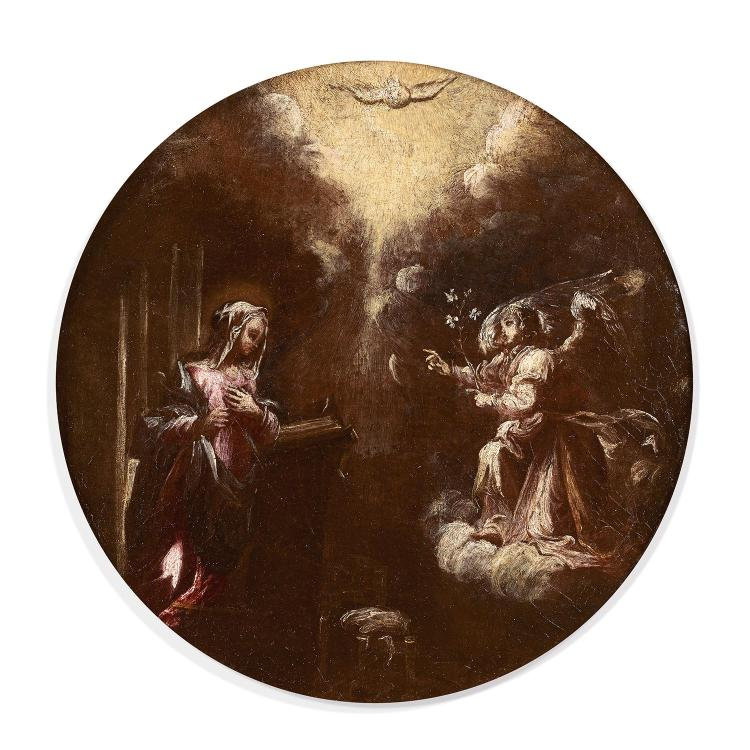 17th century Lombard school, The Annunciation, circular canvas