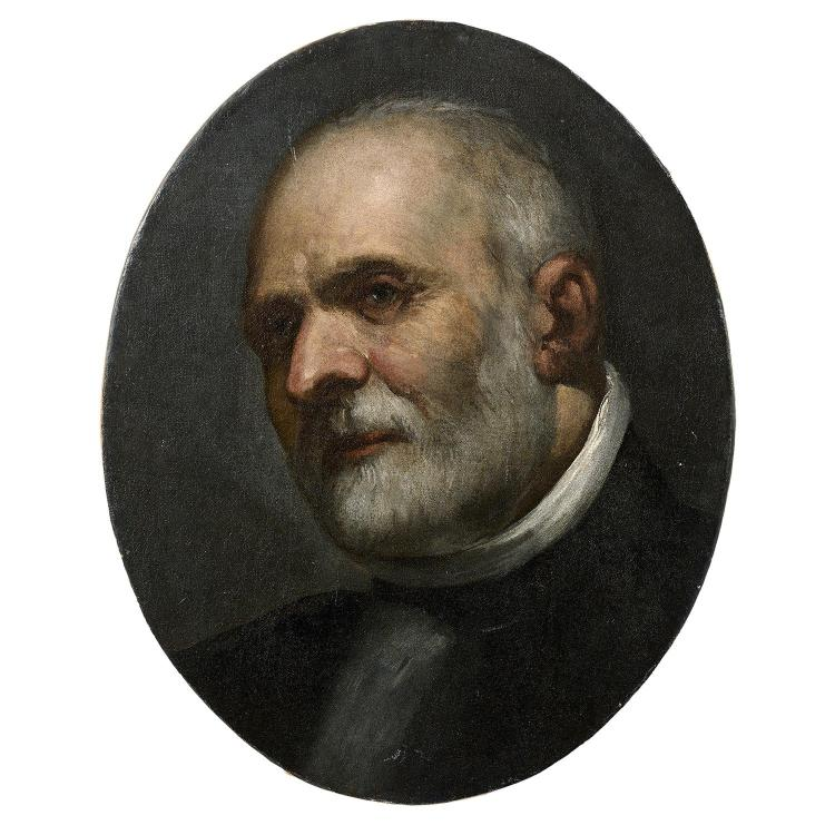 Attr. to D. Tintoreto, Portrait of a man, oval canvas, fragment