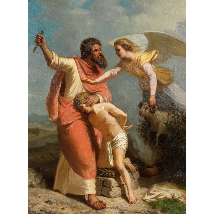 Spanish school circa 1800, The sacrifice of Isaac, original canvas