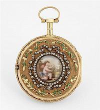 BERTHOUD PARIS VERS 1780 Montre de poche en or époque Louis XVI. Lunette ciselée, bordée d'un feuillage émaillé et sertie de petits ...