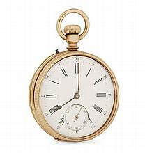 ANONYME DEBUT XXe Montre de poche en or jaune. Cadran émail blanc avec index chiffres romains peints et graduation minutes, cadran a...
