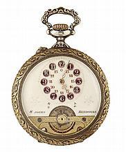 HEBDOMAS DEBUT XXème SIECLE Montre de poche en métal argenté. Cadran émail avec heures décentrées dans des cartouches et indication ...