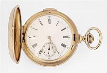ANONYME VERS 1900 Montre de poche savonnette en or jaune avec répétition des minutes. Cadran émail blanc avec index chiffres romains...
