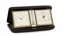 LANCEL ANNEES 60 Ecrin portatif renfermant un réveil, un thermomètre et un baromètre en laiton. Cadran aregnté avec index chiffres a...