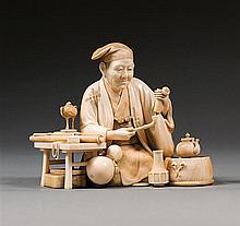 An ivory okimono, signed Soju. Japan, Meiji period. H. 9,5 cm (3 3/4 in.)