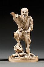 An ivory okimono, signed Yoshizane. Japan, Meiji period. H. 14,5 cm (5 11/16 in.)