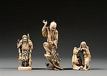 Three ivory okimono. Japan, Meiji period. H. 13 cm (5 1/8 in.)