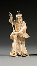 An ivory okimono, signed. Japan, Meiji period. H. 11,5 cm (4 1/2 in.)