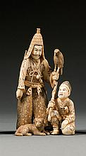 An ivory okimono, signed Chikayoshi. Japan, Meiji period. H. 13 cm (5 1/8 in.)
