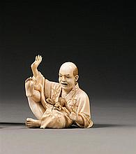 An ivory okimono, signed. Japan, Meiji period. H. 5,5 cm (2 3/16 in.)