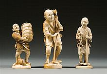Three ivory okimono, signed. Japan, Meiji period. H. (max) 17 cm (6 11/16 in.)