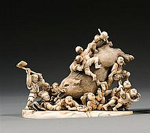 An ivory okimono, signed Gyokuhide. Japan, Meiji period. L. 14 cm (5 1/2 in.)