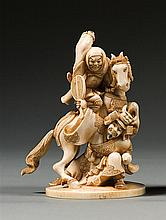 An ivory okimono, signed Harushige. Japan, Meiji period. H. 12,2 cm (4 13/16 in.)