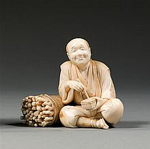 An ivory okimono, signed. Japan, Meiji period. H. 8 cm (3 1/8 in.)