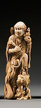 An ivory okimono, signed Osho or Kimiaki. Japan, Meiji period. H. 17 cm (6 11/16 in.)