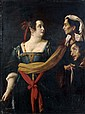 Attribué à Giovanni Francesco GUERRIERI da FOSSOMBRONE (1589 – vers 1655 – 1659) Judith et Abra tenant la tête d'Holopherne Toile, l...