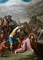 Cornelis de BAELLIEUR (Anvers 1607 – 1671) La Montée au Calvaire Cuivre 22, 5 x 17 cm Restaurations et manques