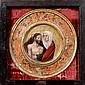 École FLAMANDE vers 1500, suiveur d'Aelbrecht BOUTS Pieta Panneau de chêne circulaire inclus dans son cadre peint  Diamètre avec le ...