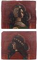 École LOMBARDE du XVIème siècle, suiveur de Bonifacio BEMBO Jeune femme de profil dans une arcature Jeune homme de profil dans une a...