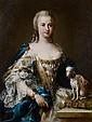 Sebastiano CECCARINI  (Fano 1703 – 1783) Portrait de dame de qualité avec son chien  Toile  101,6 x 76,5 cm Enfoncement Longtemps à ...
