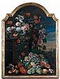 École HOLLANDAISE du XVIIIème siècle, entourage de Conraet ROEPEL Nature morte de fleurs et de fruits dans un paysage Toile contreco...