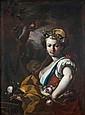 Jacopo CESTARO (Bagnoli Irpino 1717 – Napule 1778) Jeune marchande de fleurs dans un paysage Toile 101 x 75 cm Restaurations