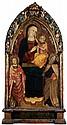 BICCI di LORENZO et son atelier (Connu à Florence de 1373-1452) La Vierge et l'Enfant en trône entre saint Jacques et saint Antoine ...