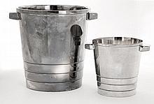 GALLIA Un seau à glace et un seau à champagne en métal argenté Art Déco