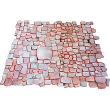 Juliette DEREL (1918-2007) Ensemble comprenant environ deux cent quatre-vingts carreaux artisanaux en terre rouge