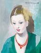 MARIE LAURENCIN (1885-1956)  Portrait de jeune fille à la robe verte, 1951 Huile sur toile Signée et datée en haut à droite Signed a...